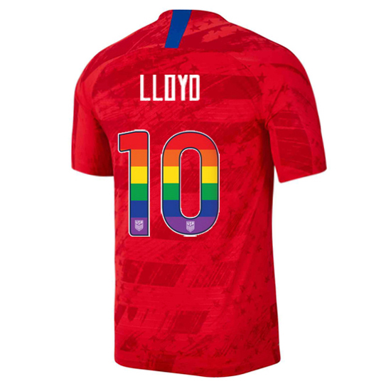 2019/20 USA Red Carli Lloyd Men's Jersey Rainbow Numbers